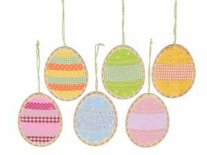 24 decorazioni in legno a uovo da appendere - PASQUA