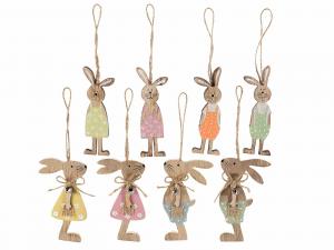 24 Coniglietti in legno decorativo da appendere con campanella - PASQUA