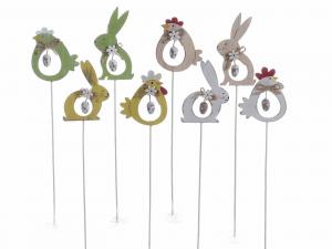 16 personaggi pasquali con uovo pendente su stick di legno - PASQUA