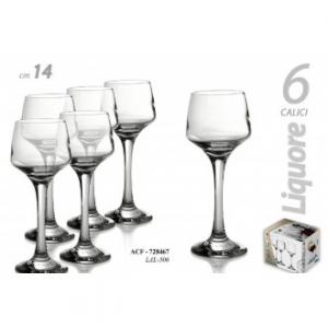 Gicos Set 6 Bicchieri a Calice per Liquore