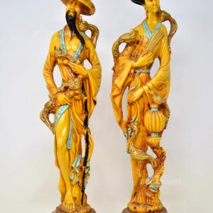 Coppia Statuette Giapponesi 47 Cm
