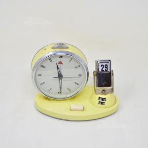 Sveglia Vintage Made In China Gialla Con Calendario Funzionante