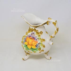 Brocca In Ceramica Di Bassano Dipinta A Mano