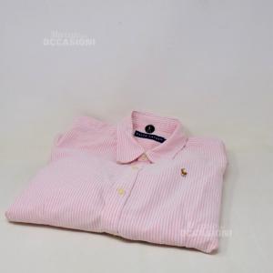 Camicia Donna Ralph Lauren Righe Bianche Rosa Tg.S