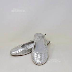 Ballerine Tosca Blu Argentate Intreccio N 40
