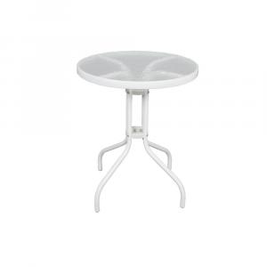 Tavolo Bianco con Base in Vetro