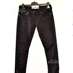 Pantaloni Donna Elisabetta Franchi Tg46 Neri Con Zip Sul Fondo