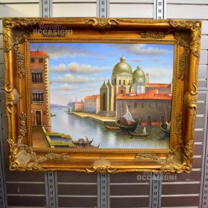 Quadro Dipinto Raffigurante La Laguna Di Venezia 130*110 Cm Con Cornice Dorata