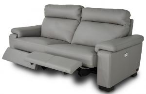 Divano Relax 3 posti in pelle di colore grigio dotato di meccanismi recliner elettrici - schienale e poggiatesta imbottitura morbida