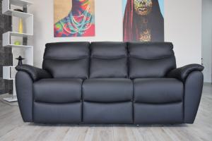 NIKOLAS - Divano relax in pelle nero antracite a 3 posti di cui 2 con meccanismi recliner elettrici