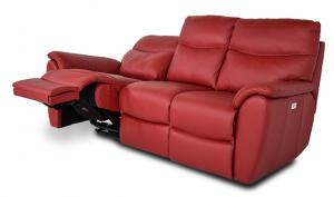 JACLIN - Divano relax rosso in pelle a 3 posti di cui 2 con movimento recliner elettrico