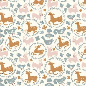 Organic fabric whimsy burrow interlock knit