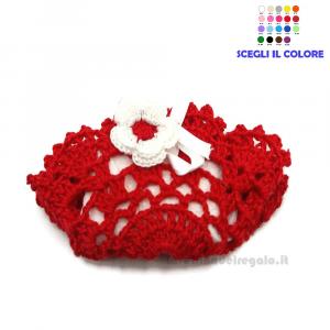 Portaconfetti bustina rossa ad uncinetto 10x6 cm - Sacchetti bomboniere