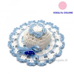 Cappellino portaconfetti Bianco e Celeste ad Uncinetto 10 cm - Handmade in Italy
