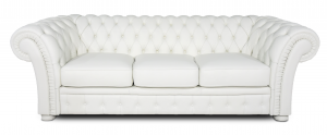 Divano chesterfield bianco in pelle modello impero a 3 posti con base e piedini in legno tappezzati in pelle