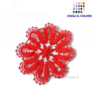 Fiorellino Rosso realizzato con il Tombolo 5.5 cm - Handmade in Italy