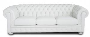 BECKA - Divano Chesterfield in pelle pieno fiore bianca a 3 posti con lavorazione capitonnè - piedini in legno rivestiti