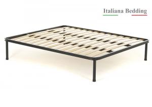 Rete letto in ferro con doghe strette in legno di faggio
