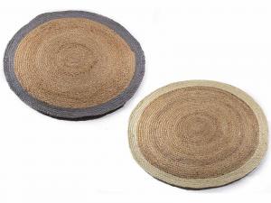 Set 2 tappeti in juta bicolore arredo casa