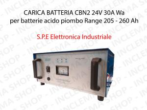 CARICA BATTERIA CBN2 24V 30A Wa per batterie acido piombo Range 205 - 260 Ah (Ciclo 5 ore) - S.P.E