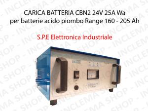 CARICA BATTERIA CBN2 24V 25A Wa per batterie acido piombo Range 160 - 205 Ah (Ciclo 5 ore) - S.P.E