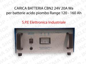 CARICA BATTERIA CBN2 24V 20A Wa per batterie acido piombo Range 120 - 160 Ah (Ciclo 5 ore) - S.P.E