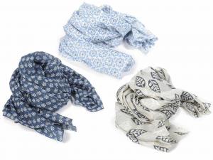 3 foulard in cotone con toni blu fantasia