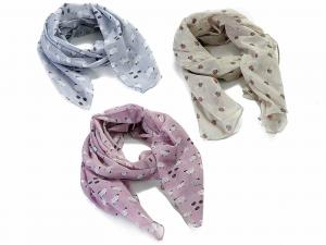 3 foulard in cotone con stampe api e pecore