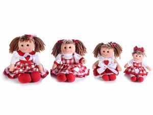 Bambole in stoffa imbottite in stile country set 4 pezzi