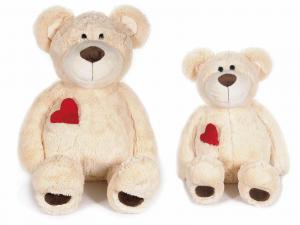 2 orsetti in peluche con cuore rosso e taschino