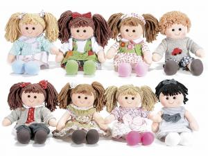 8 bambole grandi in stoffa imbottite alte 37 cm