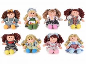 8 bambole in stoffa imbottite alte 28 cm