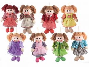 8 bambole piccole in stoffa imbottite con cordino