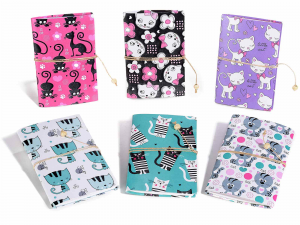 6 quaderni diari con stampa gatti e chiusura in corda