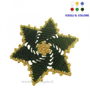 4 pz - Sottobicchiere verde e oro per Natale ad uncinetto 15 cm - Handmade in Italy