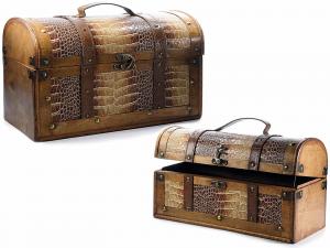 Set 2 bauli effetto pitonato in legno con inserti in pelle