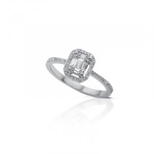 Anello in Oro Bianco e Diamanti taglio Brillante/Baguette