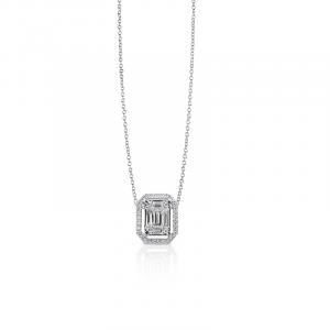 Girocollo in Oro Bianco e Diamanti taglio Brillante/Baguette - Gianni Carità