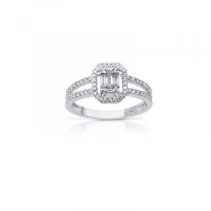 Anello in Oro Bianco con Diamanti taglio Brillante/Baguette - Gianni Carità