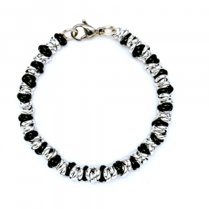 BRACCIALE LUCIDO TWIST MEDIUM ARGENTATO E NERO