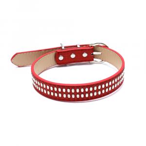 Collare cuoio rosso con medaglia e incisione