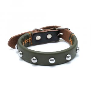 Collare cuoio verde militare con medaglia e incisione
