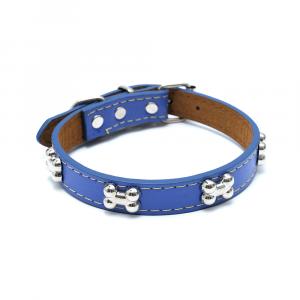 Collare cuoio blu con osso con medaglia e incisione