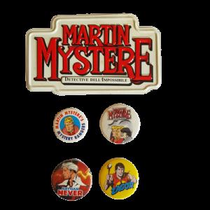 4 Spille (pin) Bonelli Martin Mystere Zagor Nathan Never + targa