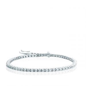 Bracciale Tennis in Oro Bianco e Diamanti Taglio Brillante