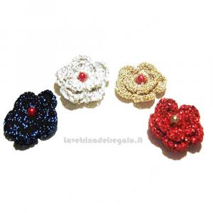4 pz - Fiore in filo Lurex ad uncinetto 3.5 cm - Handmade in Italy