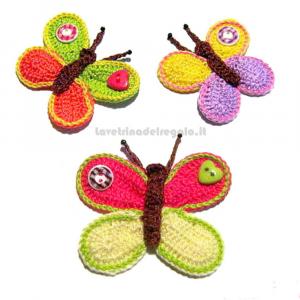 3 pz - Farfalla colorata ad uncinetto - Handmade in Italy