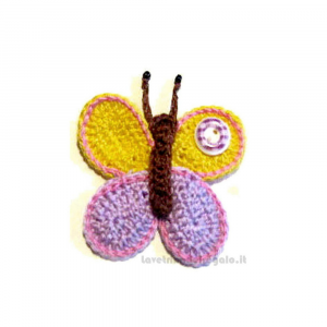 Farfalla gialla e lilla ad uncinetto 7x5.5 cm - Handmade in Italy