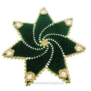 Centrino di Natale verde ed oro ad uncinetto 36 cm - Handmade in Italy