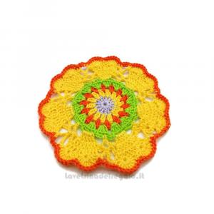 Sottobicchiere giallo ad uncinetto 12 cm Handmade - Italy